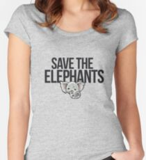 Save the elephants Women's Fitted Scoop T-Shirt