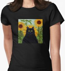 Dan de Lion with Sunflowers Womens Fitted T-Shirt