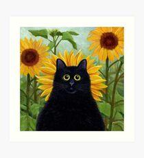 Dan de Lion with Sunflowers Art Print