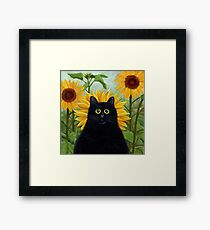 Dan de Lion with Sunflowers Framed Print
