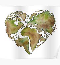 Maailmankartta (World Map Heart Shape) Poster