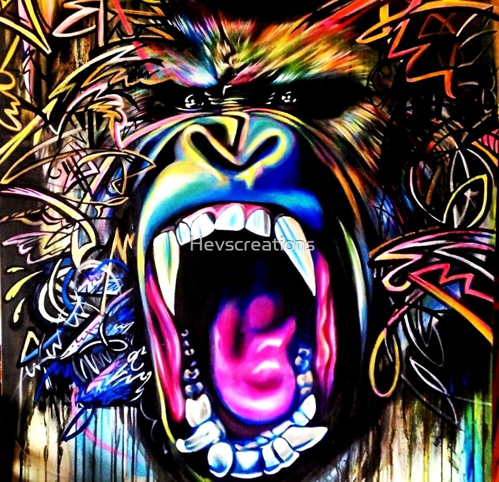 Rainbow Gorilla by Hevscreations
