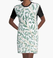 Green Leaf Watercolor Graphic T-Shirt Dress