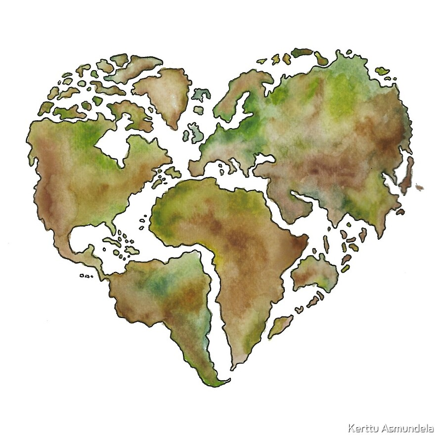 Maailmankartta World Map Heart Shape Acrylic Blocks By Kerttu - World map shape