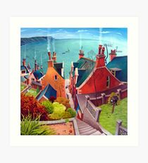 Sea houses. Gardenstown. Art Print
