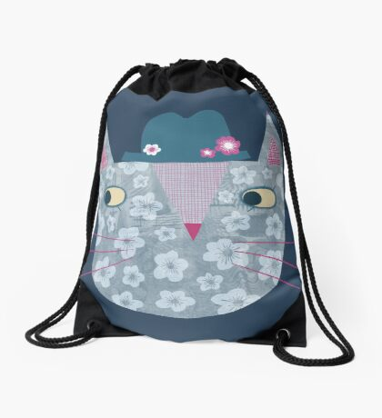 Flowery Cat in a Flowery Hat Drawstring Bag