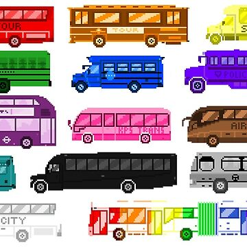 Bus Colors - The Kids' Picture Show - Pixel Art by KidsPictureShow