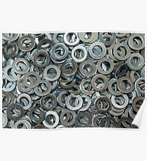 Metal Washers Close Up Overhead Poster