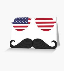 4th of July stache Greeting Card