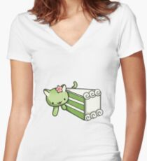 Gateau Matcha Kitty Women's Fitted V-Neck T-Shirt