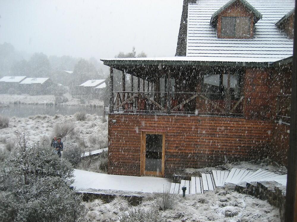 snowing at Cradle Mt Lodge's  Waldheim Alpine Spa by gaylene
