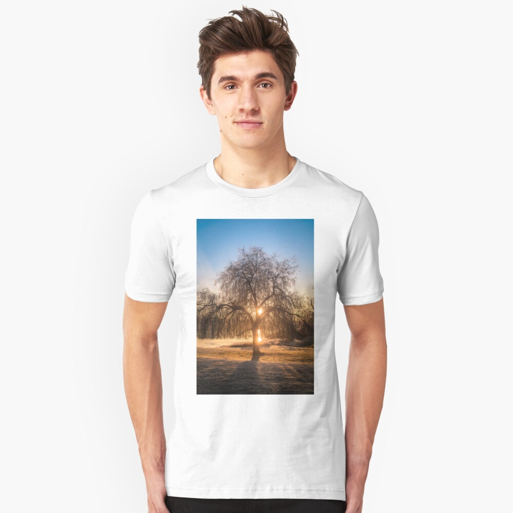 Weeping Willow Tree Sunrise  Slim Fit T-Shirt