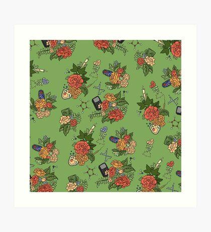 STEM floral pattern Art Print