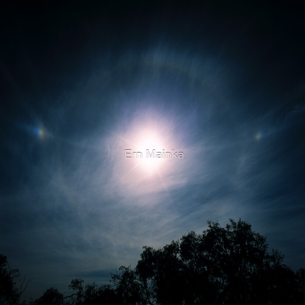 Sundogs, Parhelic Circle and Solar Halo. by Ern Mainka