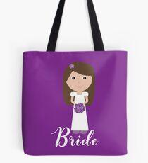 Cute Cartoon Brunette Bride Tote Bag