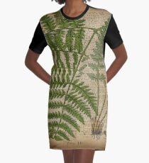 vintage foliage hipster botanical print fern leaves Graphic T-Shirt Dress