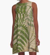 vintage foliage hipster botanical print fern leaves A-Line Dress