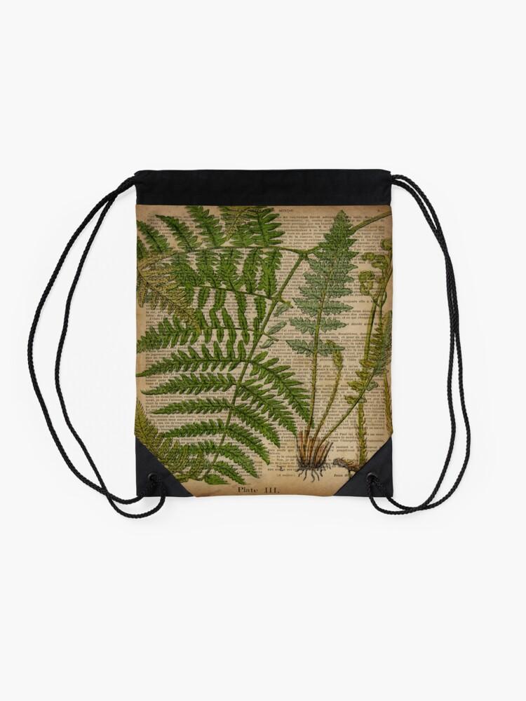 Alternate view of vintage foliage hipster botanical print fern leaves Drawstring Bag
