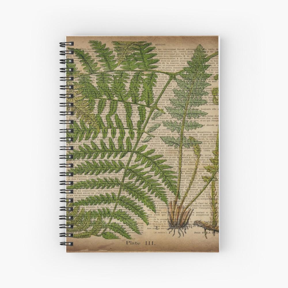 botanische Druckfarnblätter des Vintagen Laubhippies Spiralblock