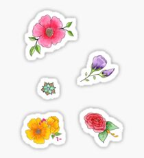 Watercolor Mixed Media Flower Sticker pack Sticker