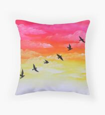 Sparrows at Sunset Throw Pillow