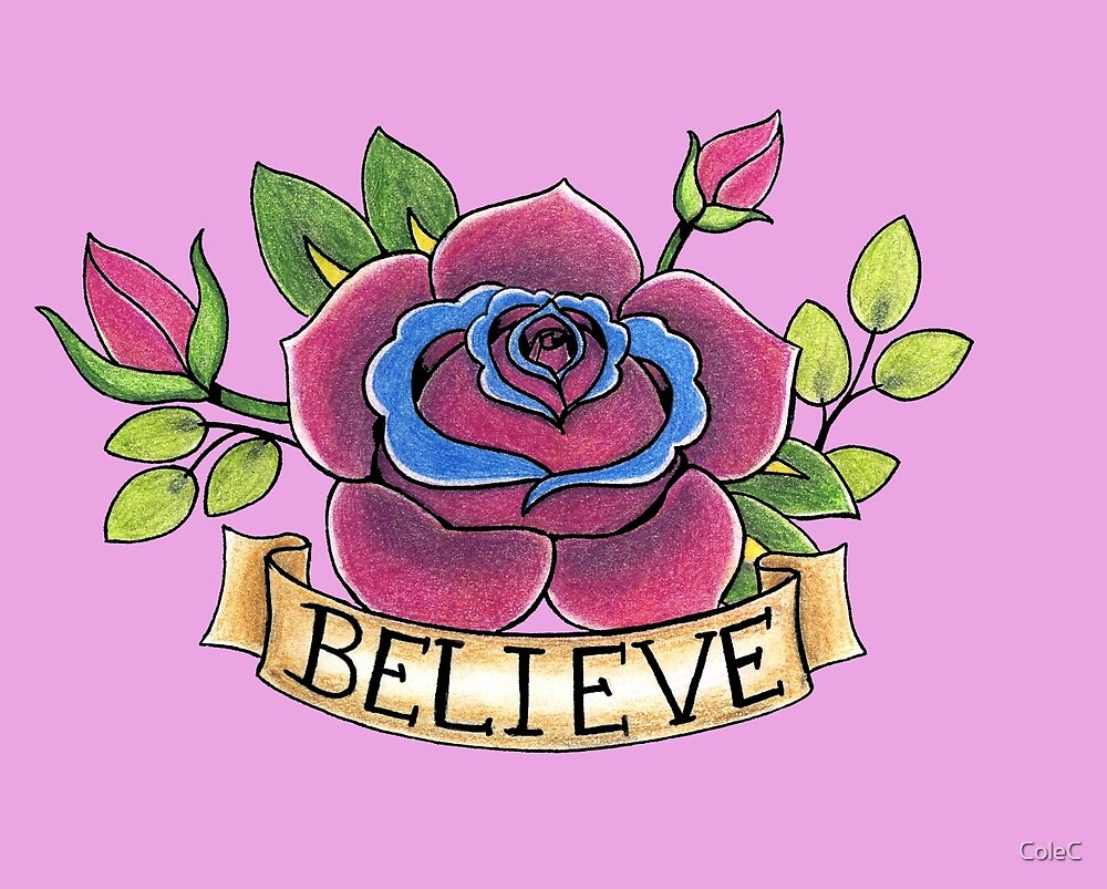 Rose With Banner Tattoo Flash By Colec Redbubble
