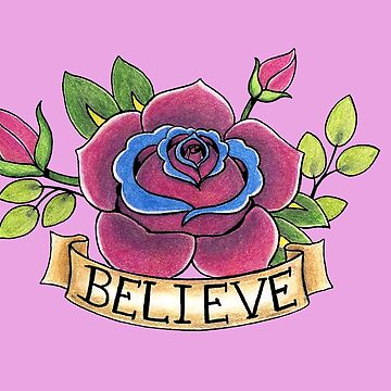 Rose With Banner Tattoo Flash by ColeC