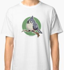 Tit Mouse Bird over Green Background Classic T-Shirt