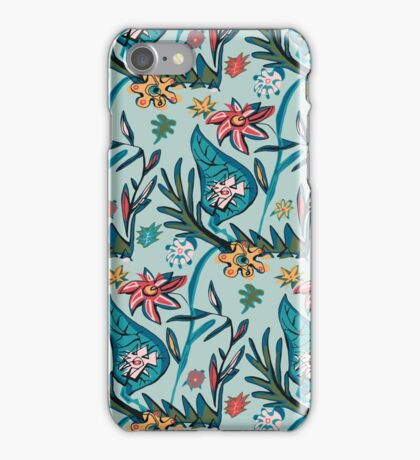Vintage aqua floral iPhone Case/Skin