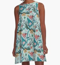 Vintage aqua floral A-Line Dress