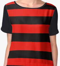 Black and Red Stripe Chiffon Top