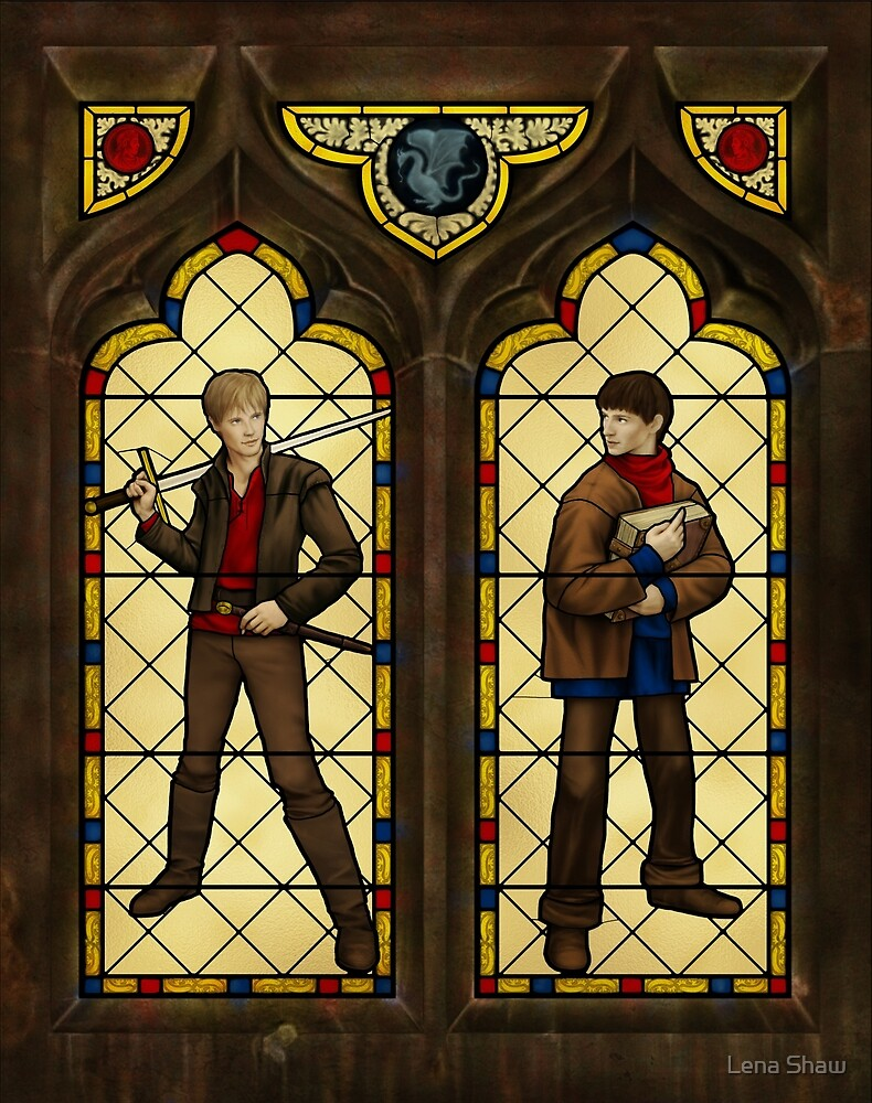 Arthur & Merlin stained glass by Lena Shaw