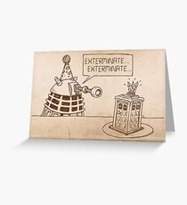 Dalek vs Tardis Birthday Cake  Greeting Card