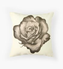 Rimmed rose sketch Throw Pillow
