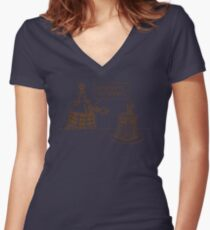 Dalek vs Tardis Birthday Cake  Women's Fitted V-Neck T-Shirt