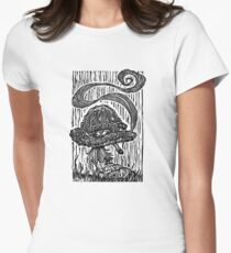 """""""Stoned Shroom"""" Woodcut  Women's Fitted T-Shirt"""