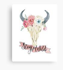 Stay Wild Boho Steer Canvas Print