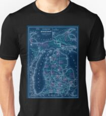 0133 Railroad Maps Railroad map of Michigan prepared for the commissioner of Inverted Unisex T-Shirt
