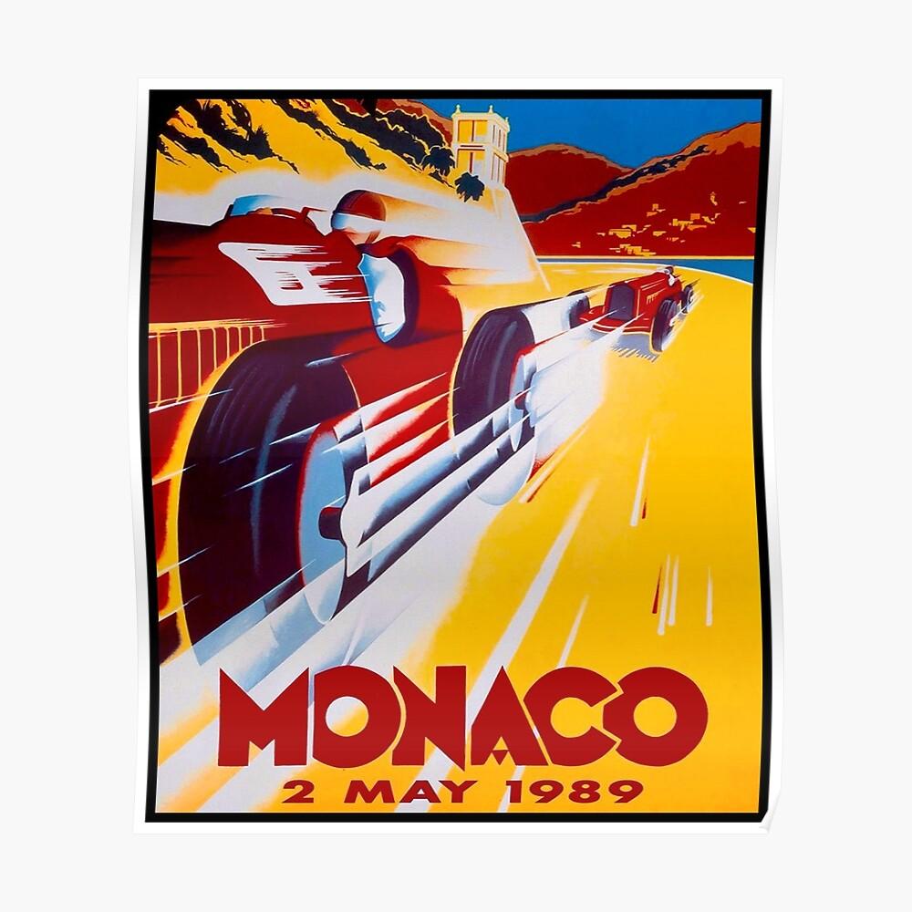 MONACO: Weinlese Grand Prix Auto Racing Print Poster