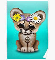 Cute Hippie Cougar Cub on Blue Poster