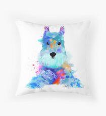 schnauzer watercolor pet portrait | Amy Throw Pillow