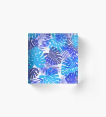 Topical Leaves Acrylic Block