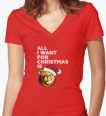 ROBUST BEAR ALL I WANT FOR CHRISTMAS Women's Fitted V-Neck T-Shirt