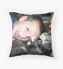 cat bath Throw Pillow