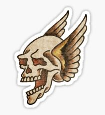 Traditional Screaming Winged Skull Sticker
