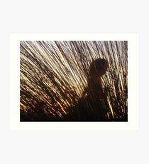 Woman Dancing Behind Grass - Shooters Gallery Art Print