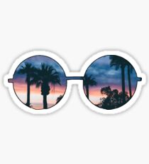 hippie glasses (pinkish sunset) Sticker