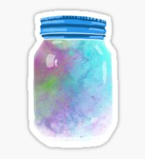 Universe in a mason jar. Galaxy design. Sticker