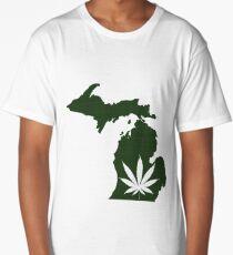 Marijuana Leaf Michigan Long T-Shirt