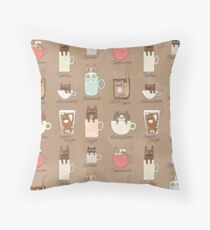 Coffee Cats Throw Pillow